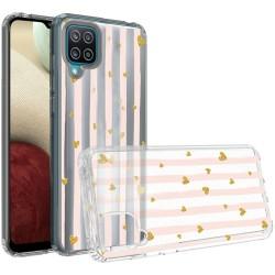Design Transparent Bumper Hybrid Case for Samsung Galaxy A12 - Gold Love Stripes