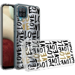 Design Transparent Bumper Hybrid Case for Samsung Galaxy A12 - Love In Gold