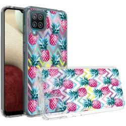 Design Transparent Bumper Hybrid Case for Samsung Galaxy A12 - Pineapple ZigZag
