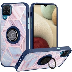 Unique IMD Design Magnetic Ring Stand Cover for Samsung Galaxy A12 - Blue on Marble
