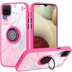 Unique IMD Design Magnetic Ring Stand Cover for Samsung Galaxy A12 - Elegant Marble on Pink