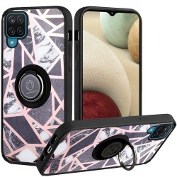 Unique IMD Design Magnetic Ring Stand Cover for Samsung Galaxy A12 - Fancy Marble on Black