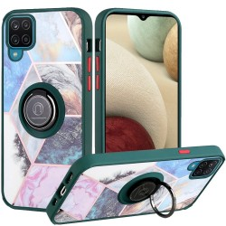 Unique IMD Design Magnetic Ring Stand Cover for Samsung Galaxy A12 - Galaxy Marble on Green