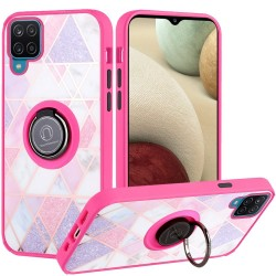 Unique IMD Design Magnetic Ring Stand Cover for Samsung Galaxy A12 - Mesh Marble on Pink