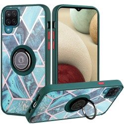 Unique IMD Design Magnetic Ring Stand Cover for Samsung Galaxy A12 - Universe Marble on Green