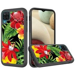 Beautiful Design Leather Feel Tuff Hybrid Case for Samsung Galaxy A12 - Flower Blossom