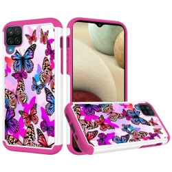 Beautiful Design Leather Feel Tuff Hybrid Case for Samsung Galaxy A12 - Colorful Butterflies
