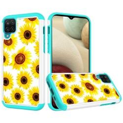 Beautiful Design Leather Feel Tuff Hybrid Case for Samsung Galaxy A12 - Sun Flower