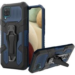 Travel Kickstand Clip Hybrid Case for Samsung Galaxy A12 - Navy Blue