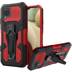 Travel Kickstand Clip Hybrid Case for Samsung Galaxy A12 - Red