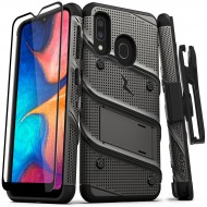 ZIZO BOLT CASE - BUILT IN KICKSTAND BELT HOLSTER AND TEMPERED GLASS SCREEN PROTECTOR For Samsung A20