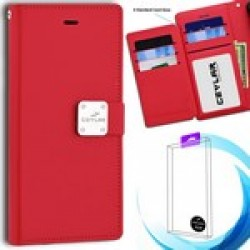 [Infolio] luxurious synthetic PU leather 6 Card Slots Infolio, Red For Samsung A20