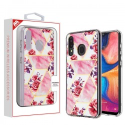 Electroplated Roses Marbling Fusion Protector Cover (with Package) For Samsung A20