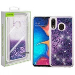 Hearts & Purple Quicksand Glitter Hybrid Protector Cover (with Package) For Samsung A20