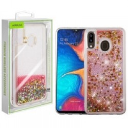 Stars & Pink Quicksand Glitter Hybrid Protector Cover (with Package) For Samsung A20