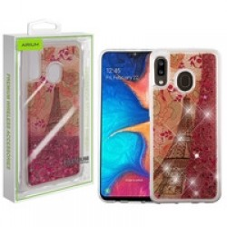 Eiffel Tower & Rose Gold Stars Quicksand Glitter Hybrid Protector Cover (with Package) For Samsung A20