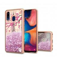 Design Water Quicksand Glitter Chrome TPU - Eiffel Tower Paris For Samsung A20