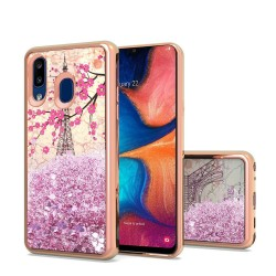 Design Water Quicksand Glitter Chrome TPU - Eiffel Tower Paris For Samsung A20