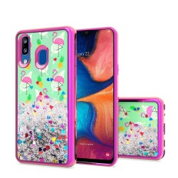 Design Water Quicksand Glitter Chrome TPU - Flamingo Pineapple Feather For Samsung A20
