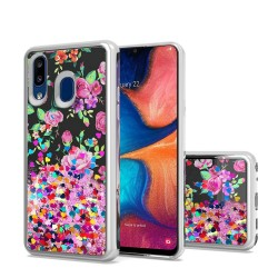 Design Water Quicksand Glitter Chrome TPU - Pink Purple Flower For Samsung A20