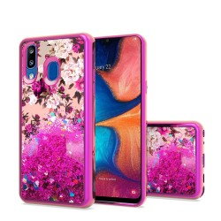Design Water Quicksand Glitter Chrome TPU - Rose Pink White Flower For Samsung A20