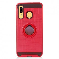 Metalic Brush Metal Case Hybrid with Ring Stands Red For Samsung A20