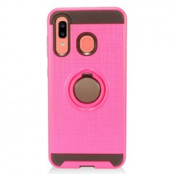 Metalic Brush Metal Case Hybrid with Ring Stands Pink For Samsung A20