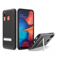 Brushed Metallic Case W/ Edge and Kickstands Black For Samsung A20