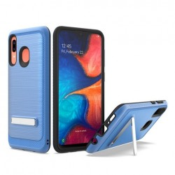 Brushed Metallic Case W/ Edge and Kickstands Blue For Samsung A20