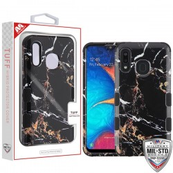 Montmartre Marble/Black TUFF Hybrid Protector Cover [Military-Grade Certified](with Package) For Samsung A20