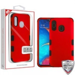 Titanium Red/Black TUFF Hybrid Phone Protector Cover [Military-Grade Certified](with Package) For Samsung A20