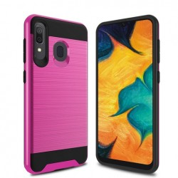 Hybrid Texture Brushed Metal case, Hot Pink For Samsung A20