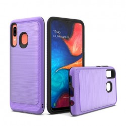 Brushed Metallic Case W/ Edge Purple For Samsung A20