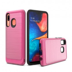 Brushed Metallic Case W/ Edge Hot Pink For Samsung A20