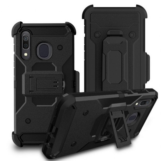 Premium Hybrid Triple Combo Holster, Black For Samsung A20