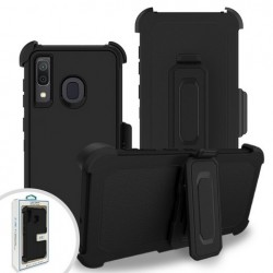 Premium Hybrid Triple Combo Holster, Black For Samsung A20