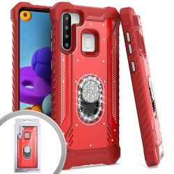 METAL JACKET DIAMOND STAND FOR SAMSUNG A21 - RED