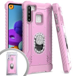 METAL JACKET DIAMOND STAND FOR SAMSUNG A21 - PINK