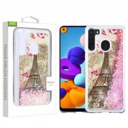 AIRIUM Quicksand Glitter Hybrid Protector for Galaxy A21 - Eiffel Tower & Pink Hearts