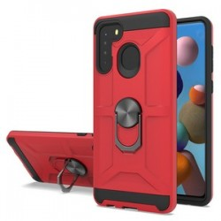 NEW MATTE DESIGN BRUSH CASE WITH RING STANDS FOR SAMSUNG A21 RED