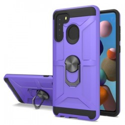 NEW MATTE DESIGN BRUSH CASE WITH RING STANDS FOR SAMSUNG A21 PURPLE