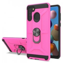 NEW MATTE DESIGN BRUSH CASE WITH RING STANDS FOR SAMSUNG A21 PINK