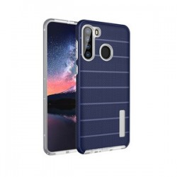 NEW TEXTURE BRUSHED METAL CASE FOR SAMSUNG A21 -BLUE