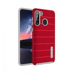 NEW TEXTURE BRUSHED METAL CASE FOR SAMSUNG A21 -RED
