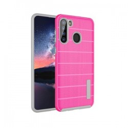 NEW TEXTURE BRUSHED METAL CASE FOR SAMSUNG A21 -PINK