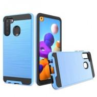 Hybrid Texture Brushed Metal case, For SAMSUNG A21 - Blue