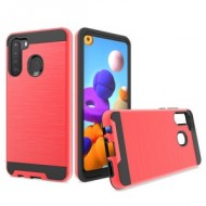 Hybrid Texture Brushed Metal case, For SAMSUNG A21 - Red