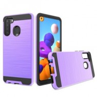 Hybrid Texture Brushed Metal case, For SAMSUNG A21 - Purple
