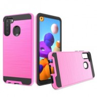 Hybrid Texture Brushed Metal case, For SAMSUNG A21 - Pink