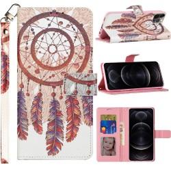 KaseAult Design Wallet ID Money Card Holder Case for Samsung Galaxy A32 5G - Antique Feather